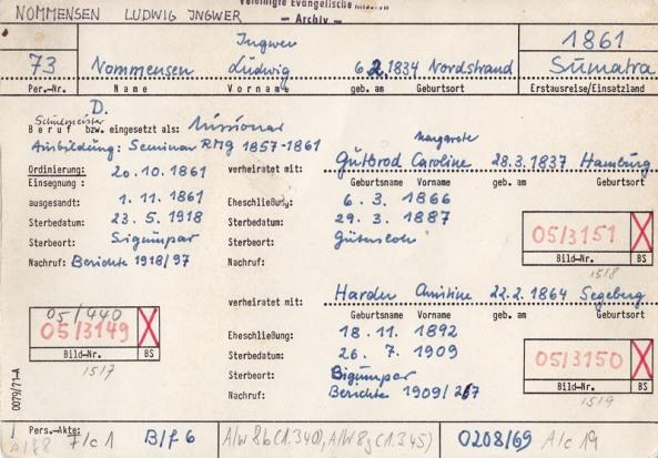 Kartu Pegawai Dr. Ingwer Ludwig Nommensen